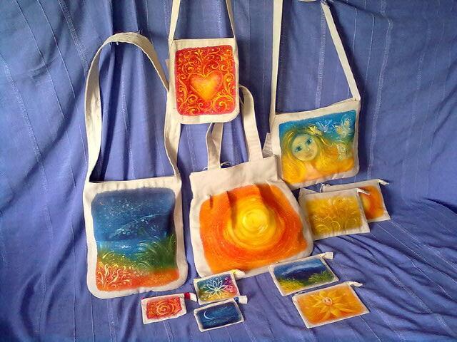 Ručně malované lněné tašky