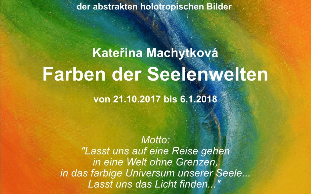 """Výstava abstraktních duchovních obrazů """"Barvy světů duše"""" v knihkupectví Zenit v Berlíně (2017)"""