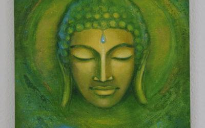 Spiritual painting – Green Buddha
